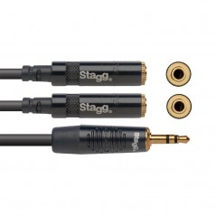 STAGG NYA010/MPS2MJSR - Cable Y mini jack stereo / 2 mini jack femelle stereo